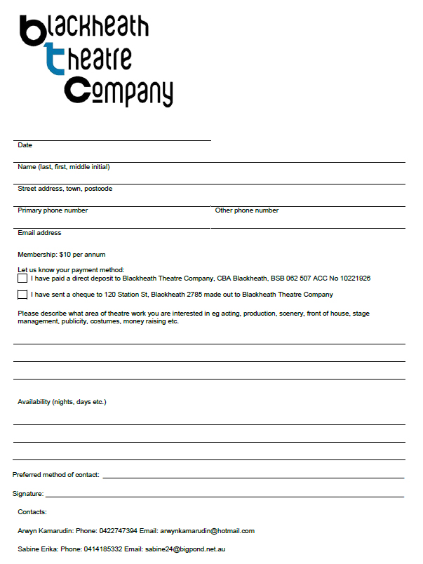 Blackheath Theatre Company Membership